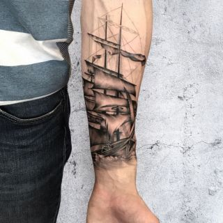 Black and Grey Pirate Ship