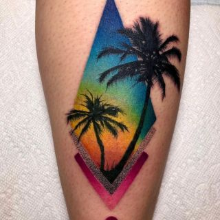 Watercolor Palm Trees