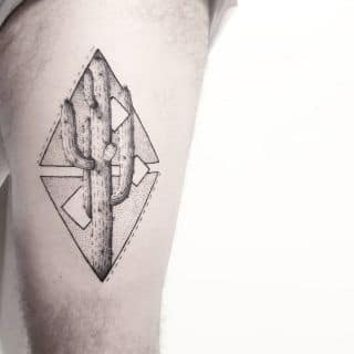 Geometric Cactus Tattoo