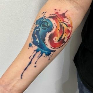 Watercolor Ying Yang